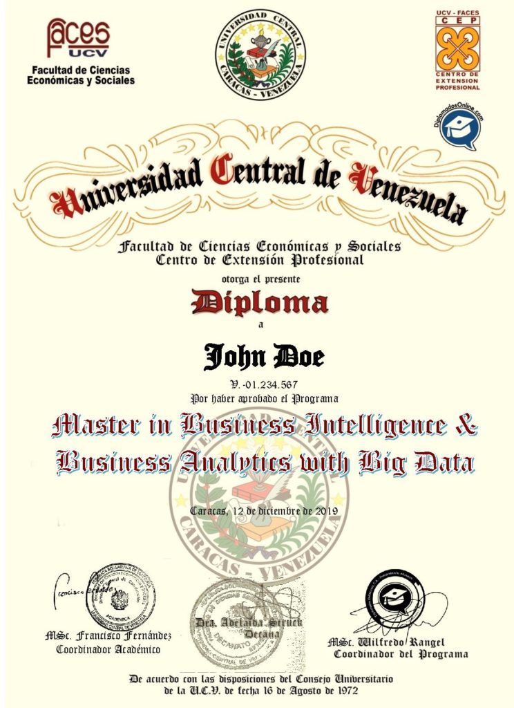 Certificado en Master Business Intelligence and Business Analytics with Big Data