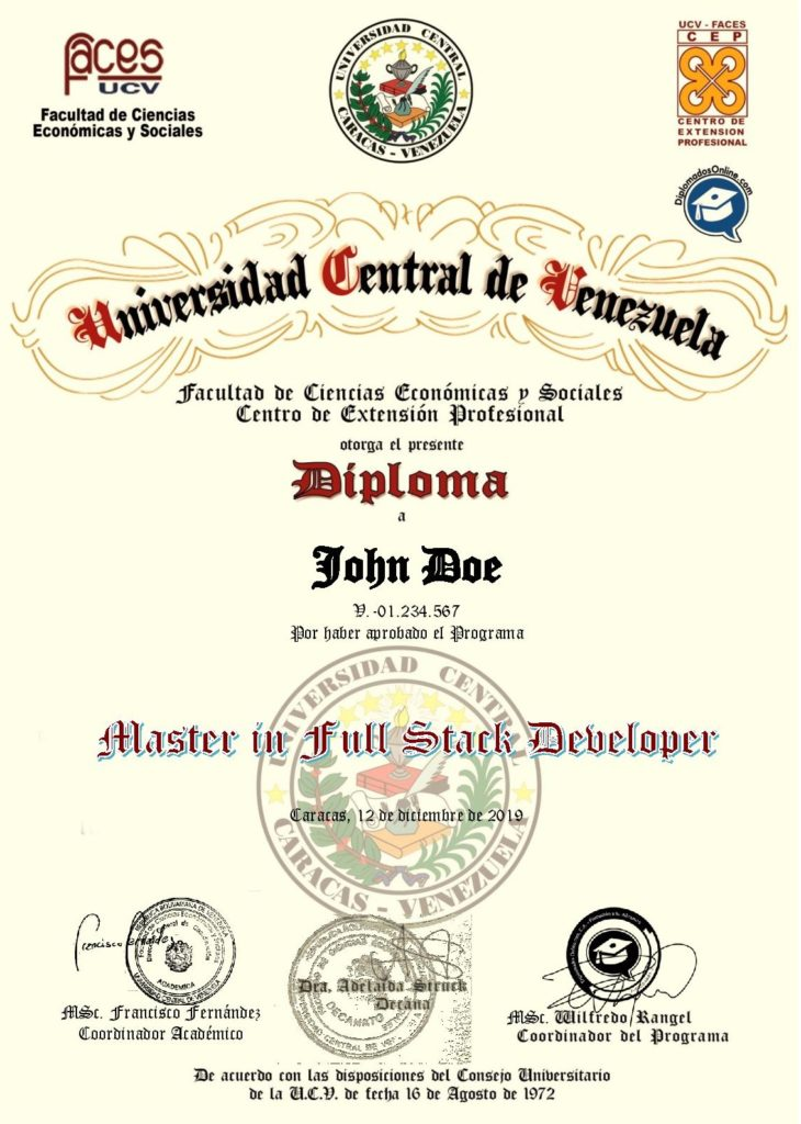 Certificado en Master In Full Stack Developer