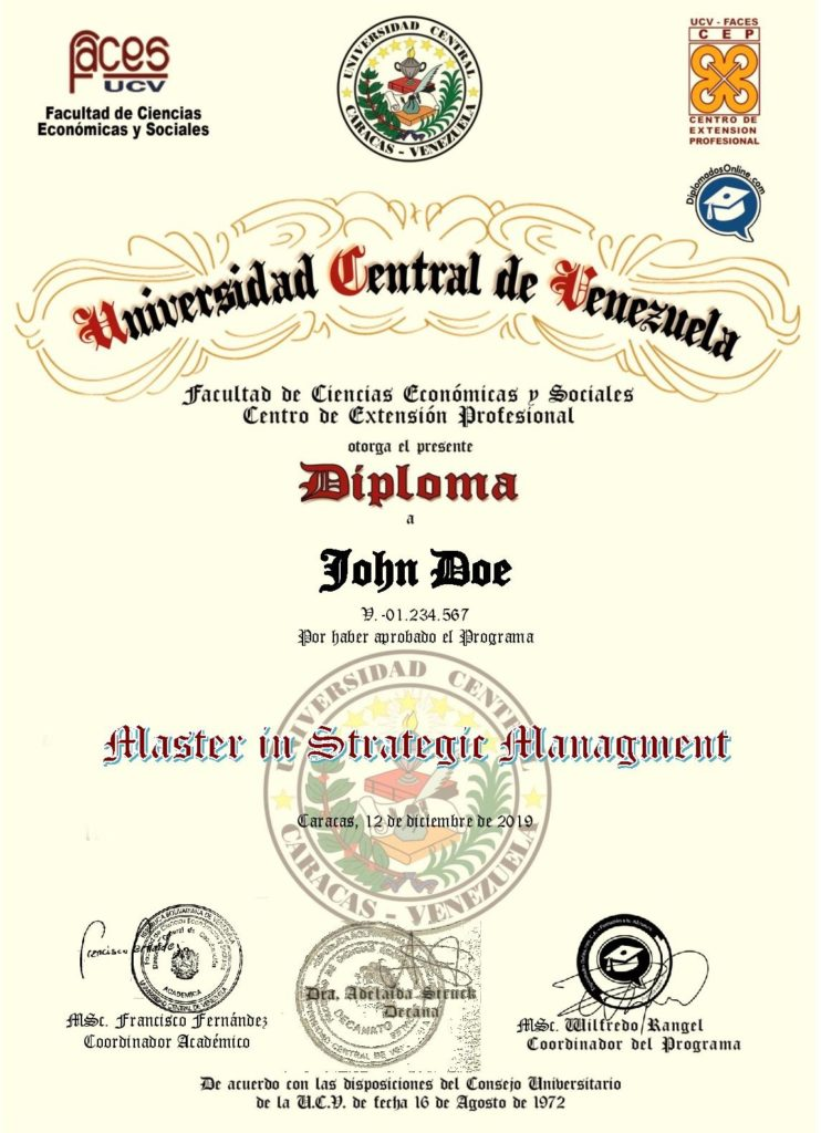Certificado en Master in Strategic Management